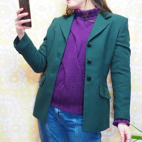 Vintage 1980s Emerald Green Dark Green Blazer Jack