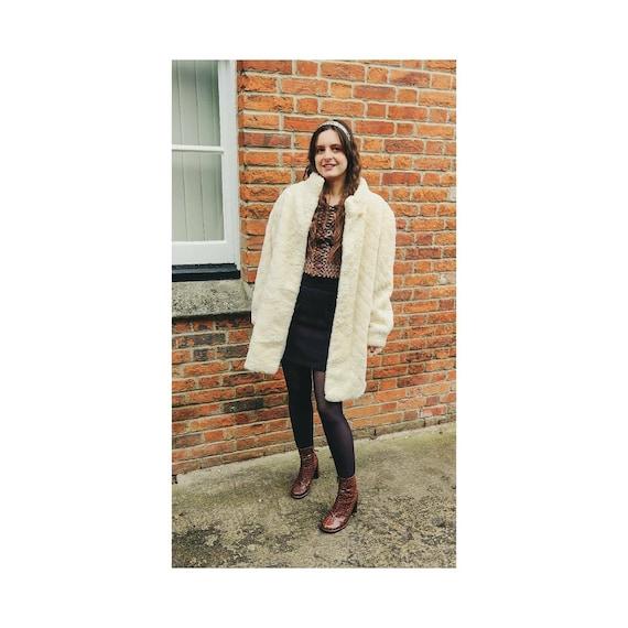 Vintage 1960s Alpaca Fur Coat Cream Fur Coat Swing
