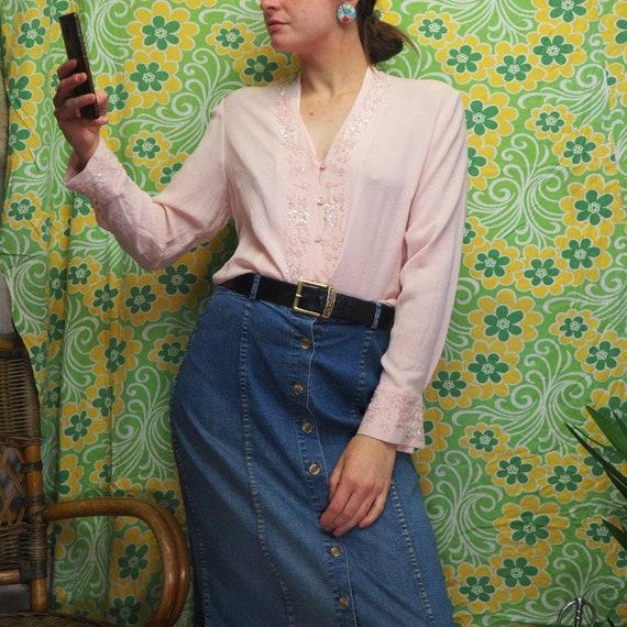Semi sheer light pink vintage blouse shirt