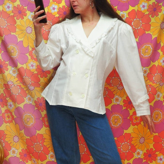 1980s White Double Breasted Peplum Blouse Large Frilly Collar Long Sleeve  Big Shoulders Shoulder Pad Power Dressing