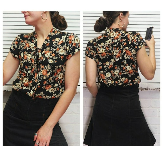 Floral Flowery Blouse Shirt Short Sleeve