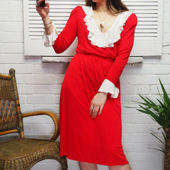 1980s Red and White Frilly Ruffle Midi Dress Day D