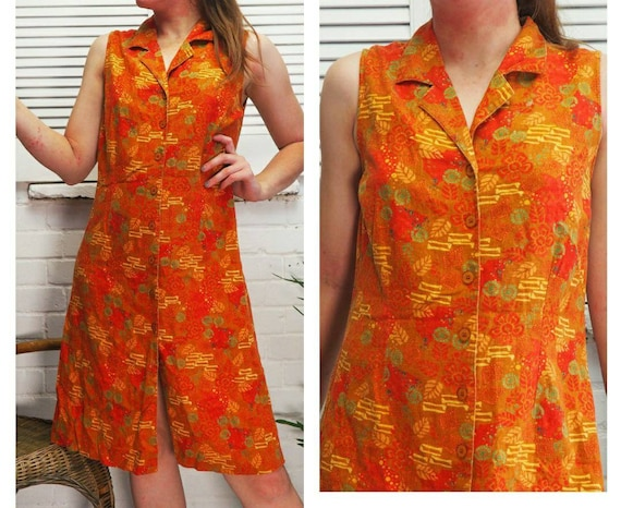 1990s 00s Orange Floral Dress Button Down Dress Su