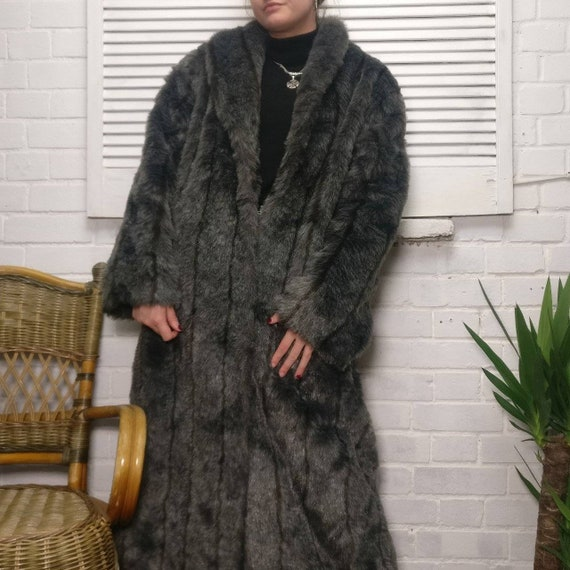 Vintage Faux Fur Fake Fur Grey Long Length Coat