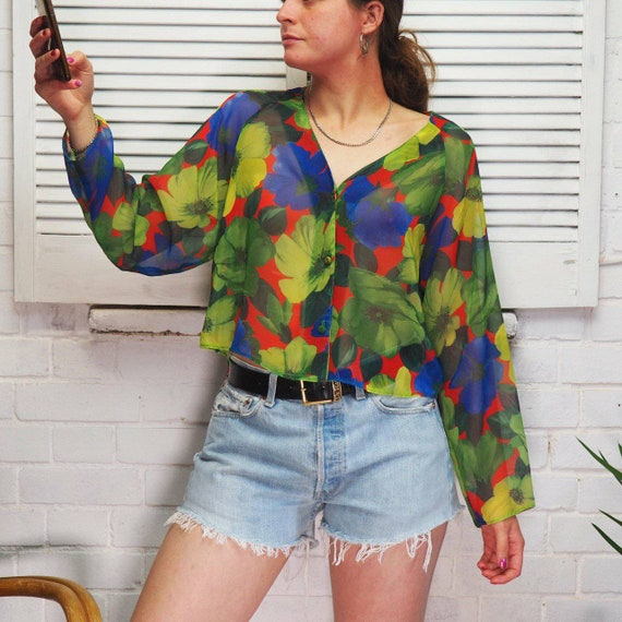 1990s Floral Sheer Cropped Blouse Flowery Shirt Lo