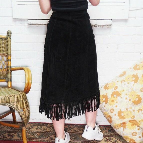 Suede tassel skirt 1970s western style - image 2