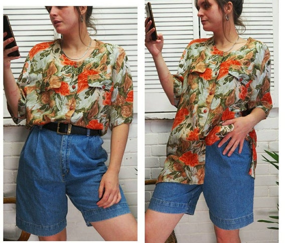 1980s cream and orange floral flowery short sleeve