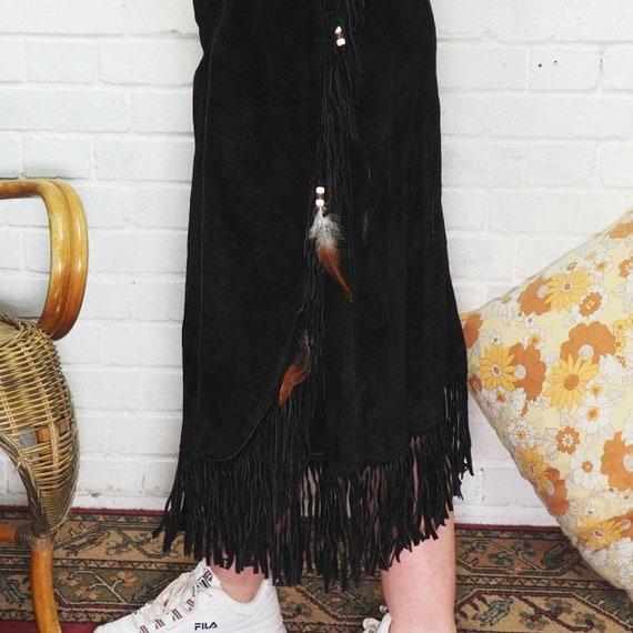 Suede tassel skirt 1970s western style - image 4