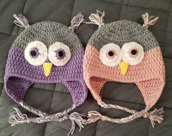 purple owl crochet hat with ear flaps Teal and purple owl crochet hat teal owl hat Halloween costume