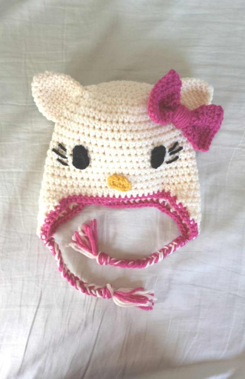 Hello Kitty Crochet Hat With Ear Flaps And Braids Infant To Etsy