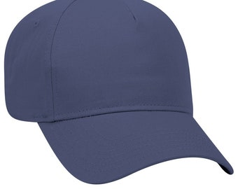 df90e30b3a8 Blank Plain Hat   Cap - Baseball Golf Fishing - Navy Blue - 5 Panel Cotton  Twill Low Profile Pro Style Caps - Ready For Embroidery