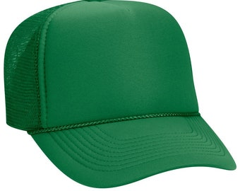 Blank Plain Mesh Trucker Hat   Cap-Baseball - Kelly Green - 5 Panel Style  Caps - Ready For Embroidery e8bfe27f8