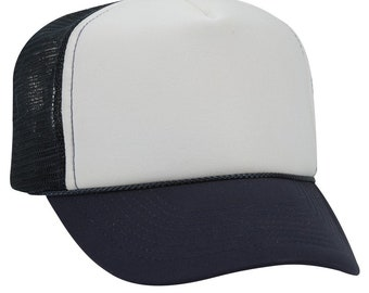 c8385bd604f Blank Plain Mesh Trucker Hat   Cap-Baseball - Navy Blue   White Front - 5  Panel Style Caps - Ready For Embroidery