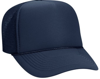 fd13bf35668 Blank Plain Mesh Trucker Hat   Cap-Baseball - Navy Blue - 5 Panel Style Caps  - Ready For Embroidery