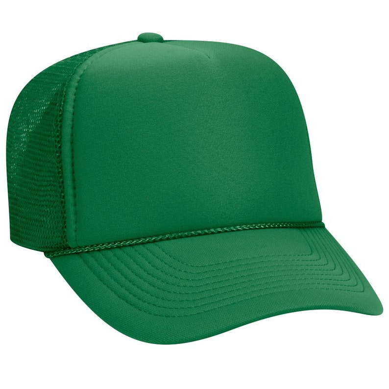 10c32726a45d8 Blank Plain Mesh Trucker Hat / Cap-Baseball - Kelly Green - 5 Panel Style  Caps - Ready For Embroidery