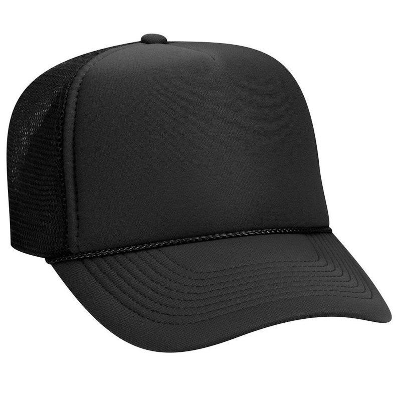 a2ca9484c98ec Blank Plain Mesh Trucker Hat / Cap-Baseball Black 5 Panel | Etsy