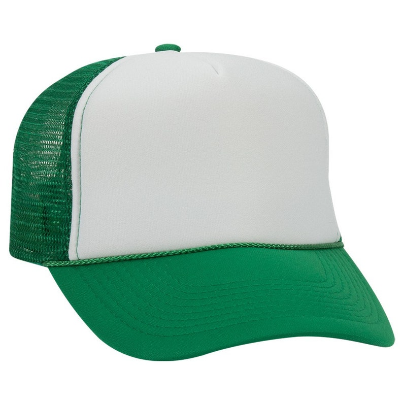 6872547af13a2 Blank Plain Mesh Trucker Hat / Cap-Baseball - Kelly Green / White Front - 5  Panel Style Caps - Ready For Embroidery