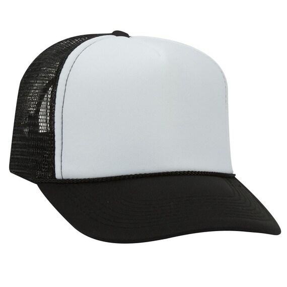 cd1963ec1859a Blank Plain Mesh Trucker Hat   Cap-Baseball Black   White