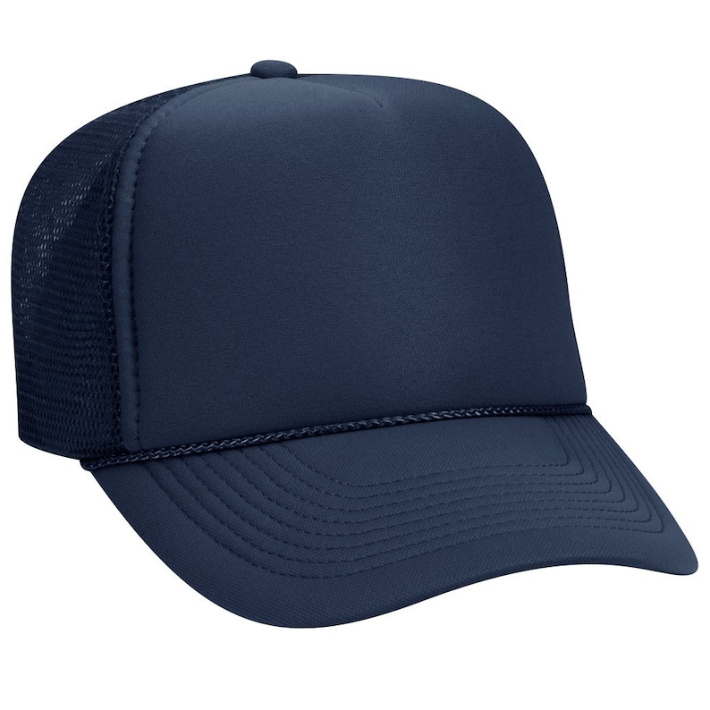 dd537c43fc Blank Plain Mesh Trucker Hat   Cap-Baseball Navy Blue 5