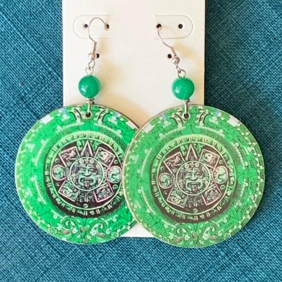 Calendario Azteca.Calendario Azteca Green Earrings
