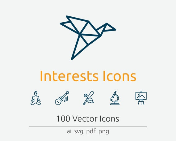 Interests Icons In Vector And Png Etsy