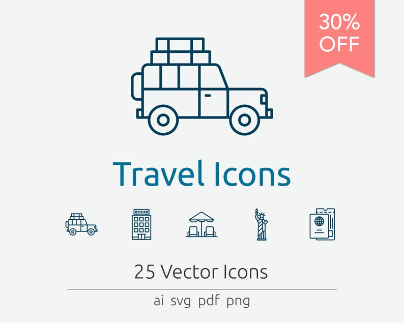 Travel Icons in Vector and PNG image 0