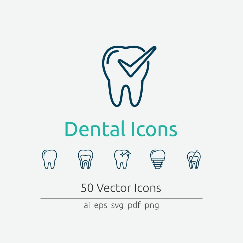 Dental Icon Set in Vector and PNG image 0