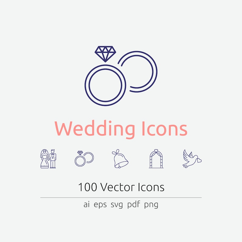 Wedding Icons in Vector and PNG image 0