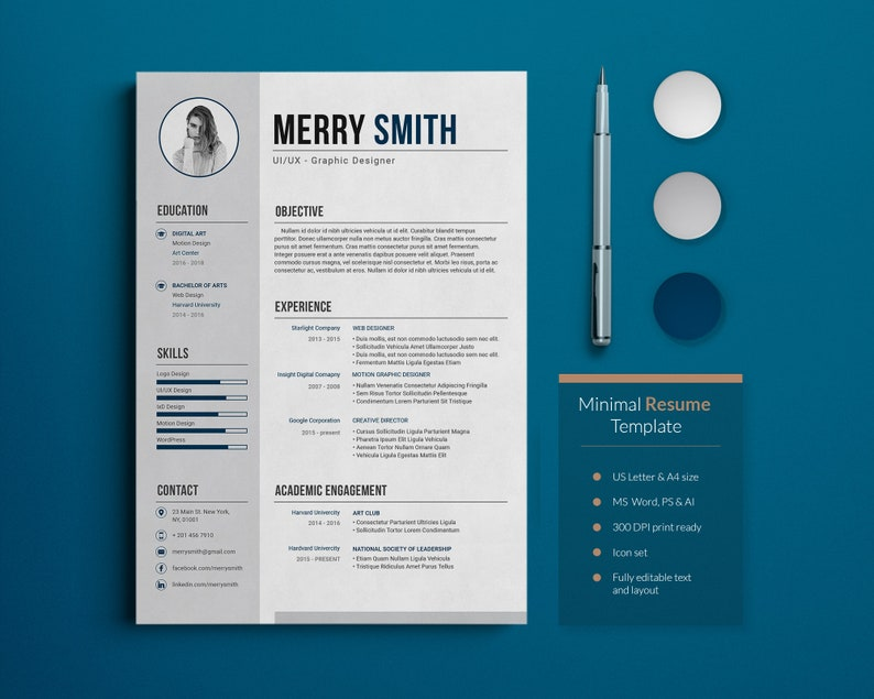 Minimal Resume Template with Letter and Icons image 0