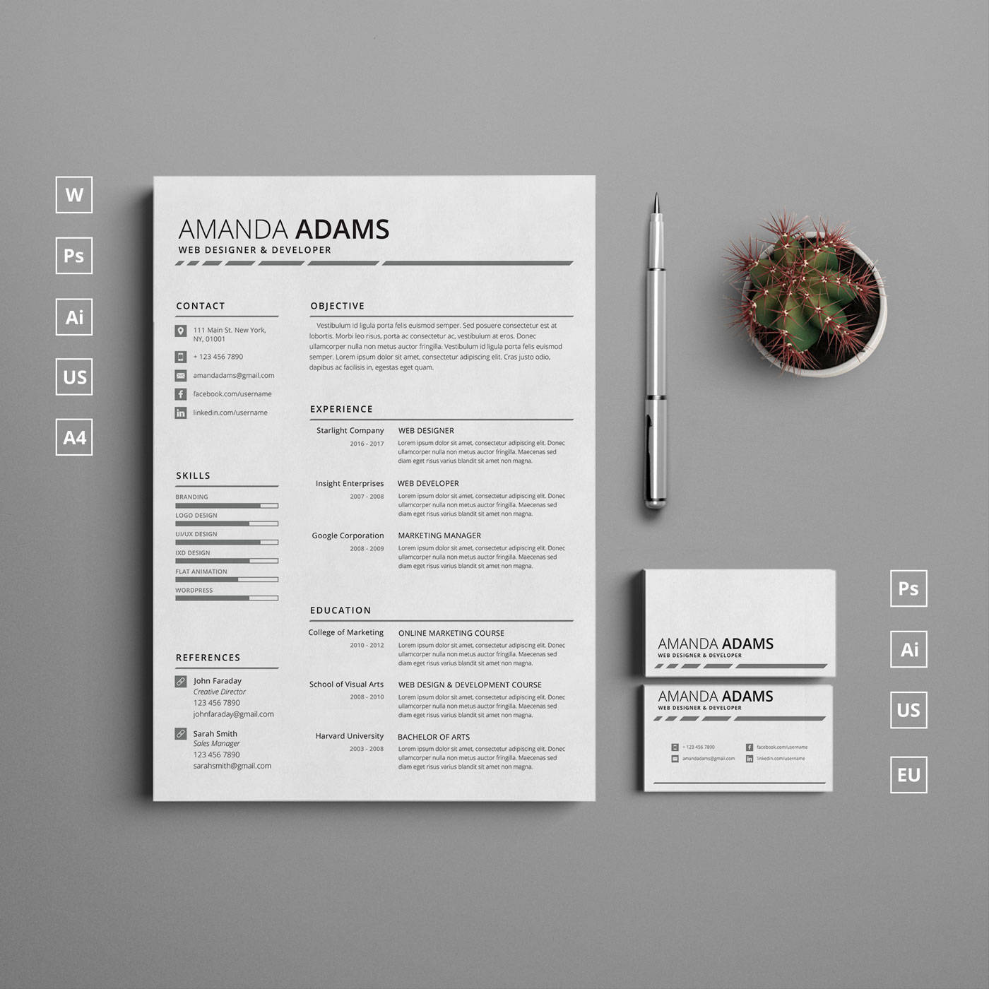 Single Page Clean Resume Template with Cover Letter and Matching ...