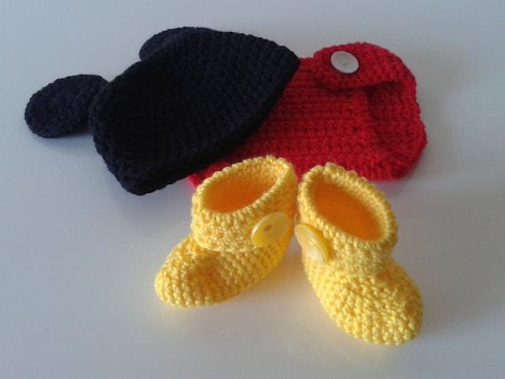 Häkeln Sie Handarbeit Micky Maus Kostüm Für Baby Jungen Etsy