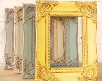 5dbe8afc1719 Ornate Vintage Photo Picture Frame Shabby Chic Retro Choice 2 Sizes Choice  4 Vintage Colours Grey Duck Egg Blue Yellow Ivory Antique Style