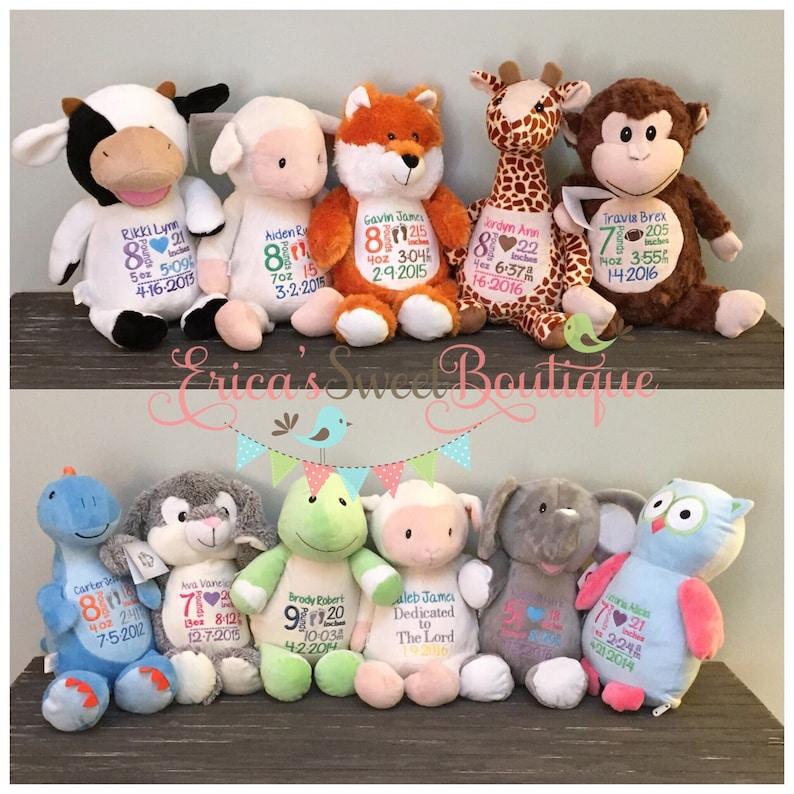 Personalized Stuffed Animals Birth stat stuffed animals baby image 0