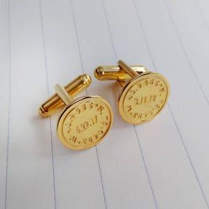 Wedding Coordinate Cufflinks,Personalized Latitude longitude Cufflinks Gold Engraved Cufflinks,Engraved Coordinate Cufflinks for Groom