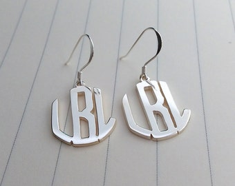 Silver Monogram Stud Earrings,Circle Three Letter Monogram Earrings,Personalized Monogram Earrings,Initial Stud Earrings,Monogrammed Gifts