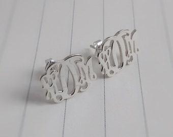 Sterling Silver Monogram Stud Earrings,Initial Stud Earrings,Personalized Monogram Earrings,Monogrammed Gifts,Name Stud Earrings