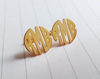 Circle Monogram Earrings,Gold Monogram Stud Earrings,Personalized Monogram Earrings,Initial Stud Earrings,Monogrammed Gifts