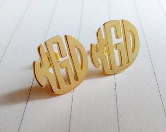 Circle Three Letter Monogram Earrings,Gold Monogram Stud Earrings,Personalized Monogram Earrings,Initial Stud Earrings,Monogrammed Gifts
