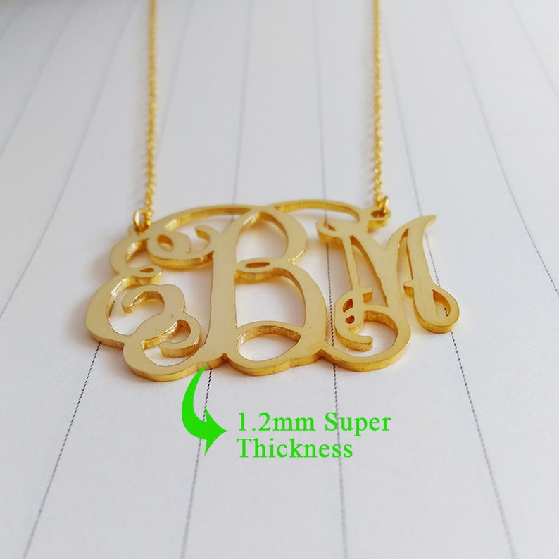 Personalized Initial Monogram Necklace,Large Gold Monogram Necklace,2 inch Personalized Monogram Necklace,Monogrammed Gifts
