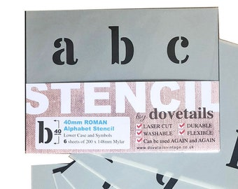 letters on 4 x A4 Sheets 40mm CAP HEIGHT Alpha8 Italic Alphabet Letter Stencil