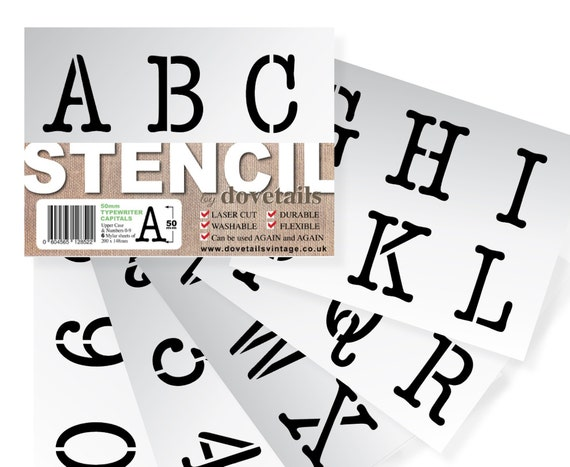 Alphabet Stencil Signwriting Template 50mm Upper Lower Case numbers /& letters