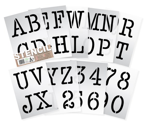 picture regarding Large Printable Numbers 0-9 called Major LETTER STENCILS 100mm TYPEWRITER Alphabet Money Letters / 0-9 Quantity (4 inches tall) 9 x Sheets lettering Higher Scenario