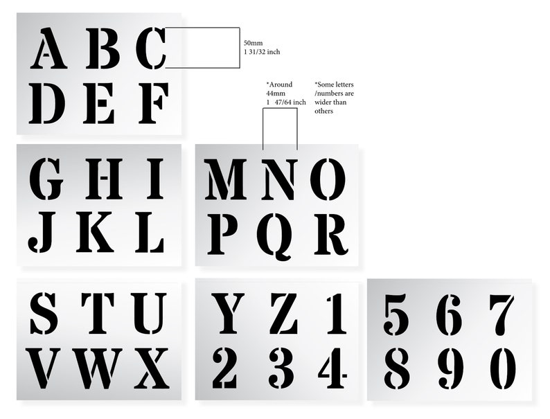 wall LETTER STENCILS 50mm ALPHABET Capital Letters   0-9 Numbers 1.96 inches tall 6 x Sheets lettering painting Roman Upper Case