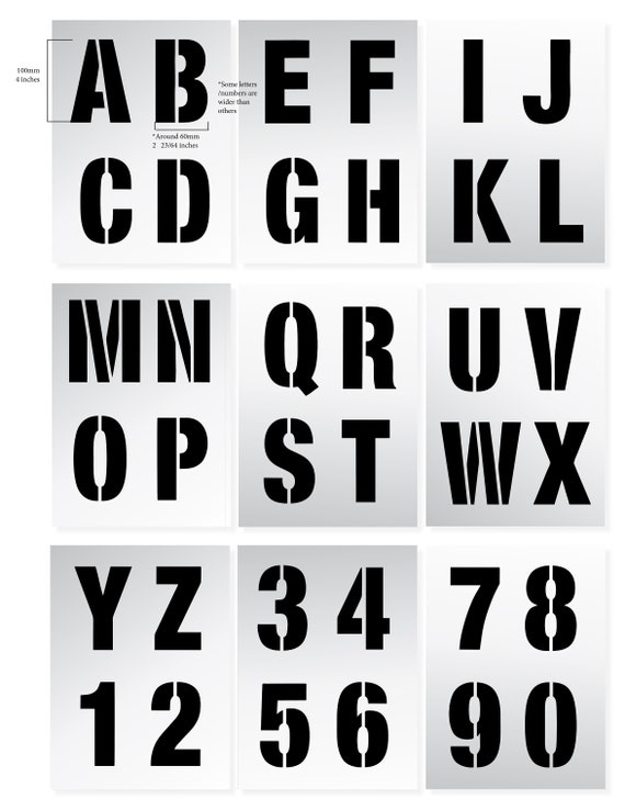 9 x Sheets lettering wall painting Modern Upper Case Large LETTER STENCILS 100mm ALPHABET Capital Letters   0-9 Numbers 4 inches tall