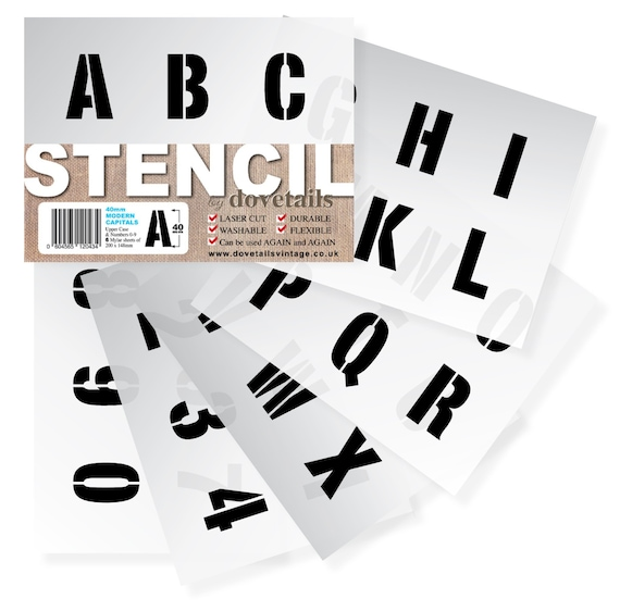 """3 x Sheets Modern CAPITALS NUMBERS 30mm tall ALPHABET STENCIL LETTERS 1.18/"""""""