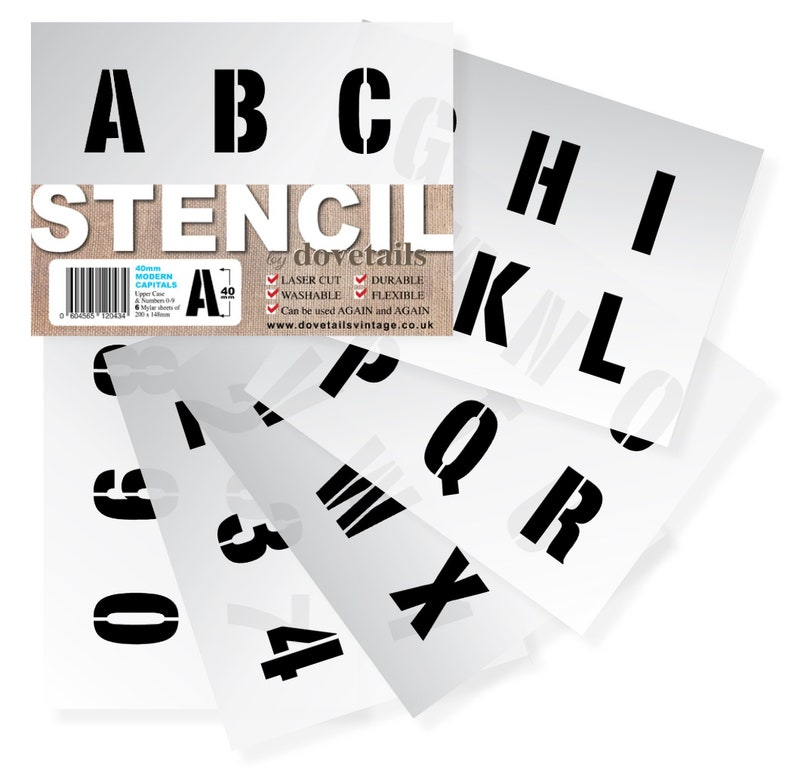 LETTER STENCILS 40mm ALPHABET Capital Letters / 0-9 Numbers (1 57 inches  tall) 6 x Sheets lettering, wall, painting Modern Upper Case