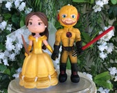 Belle and Reverse Flash  Hand Crafted Wedding Cake Topper