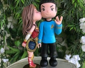 Wonder Woman and Spock Hand Crafted Wedding Cake Topper