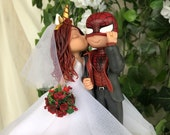 Spider-man and Bride Hand Crafted Wedding Cake Topper