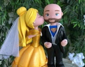 Belle and Superman Hand Crafted Wedding Cake Topper